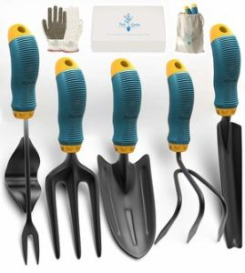 Gardening Tools Set from Alloy Steel - Heavy Duty Garden Tool Set with Rubber Non-Slip Handle