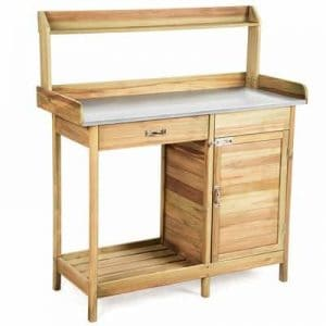 Giantex Potting Bench Table for Outside Natural Wood Garden Plant Lawn Patio Table