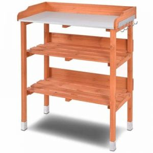 Giantex Outdoor Garden Wooden Potting Bench Work Station Table Tool Storage