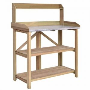 Hydroponicsbase - Giantex Outdoor Garden Wooden Potting Work Bench Station Planting Workbench